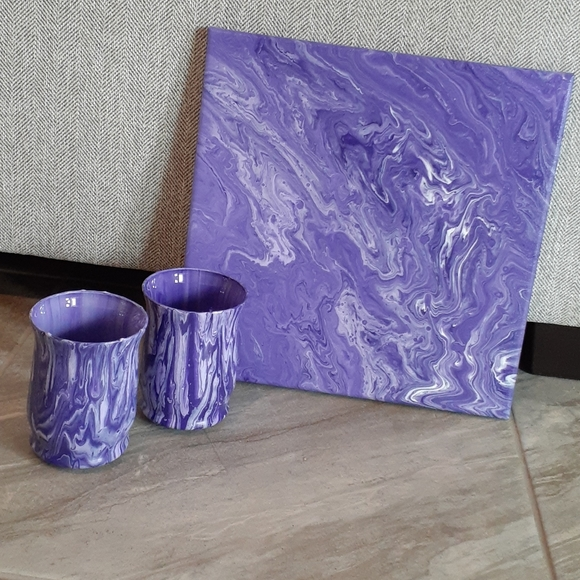 Love Purple!!! Votive Candle Holders and Painting